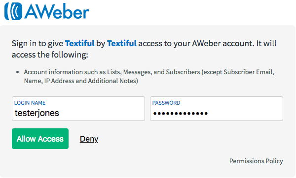 log into your AWeber account