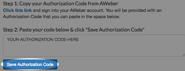 enter AWeber login information