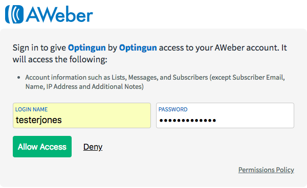 enter your AWeber login details and click to allow access