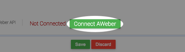 click to connect to AWeber