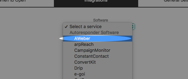 use dropdown to select AWeber