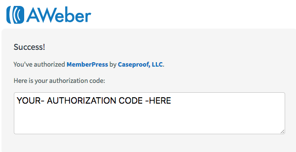 copy authorization code