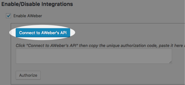 click connect to aweber's api