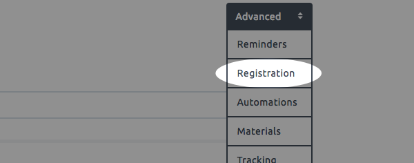 use the advanced tab to select registration