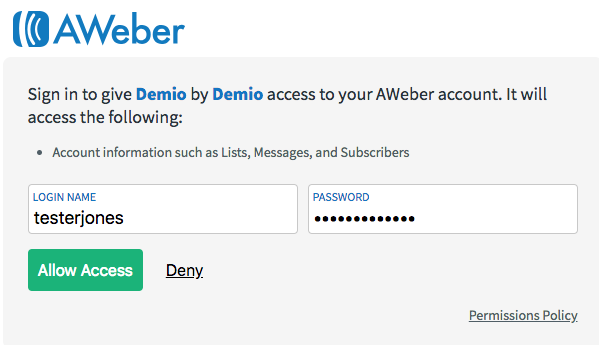 log into your aweber account and click to allow access