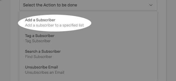 use drop down to select action to be taken by AWeber