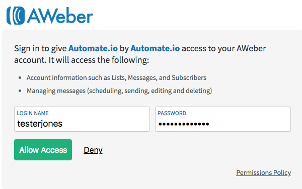 log into AWeber and click allow access
