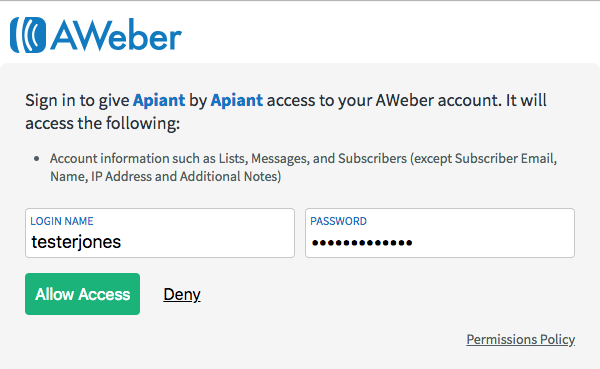 log into AWeber and click to allow access
