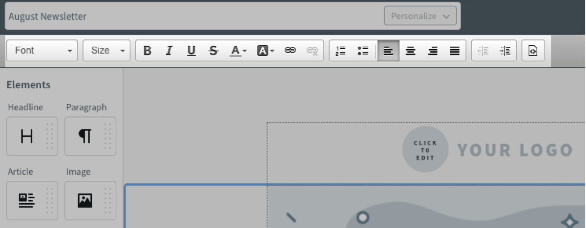 Message editor toolbar