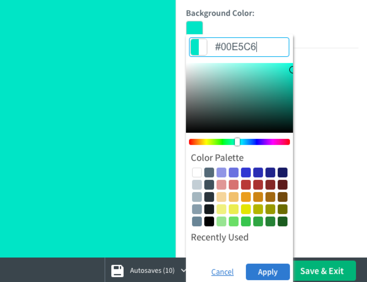 Select color or add hex code