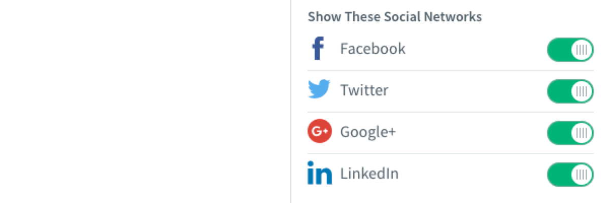 Enable or disable different social media options