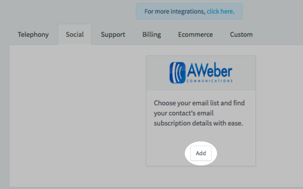 Locate AWeber integration and click Add button