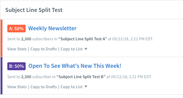 Subject Line Split Test