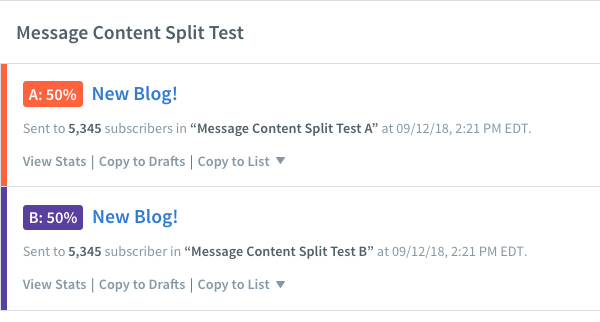 Message Content Split Test