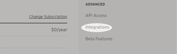 Click integrations option