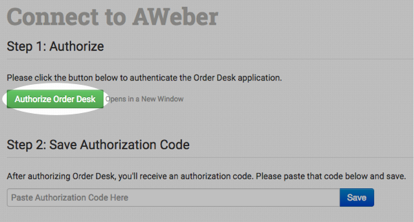 Authorize Order Desk button
