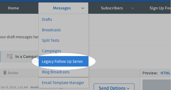 Click the Legacy Follow Up Series option