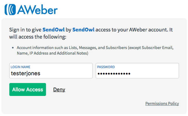 Authorize the SendOwl integration