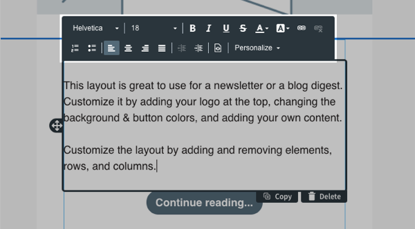 Use the toolbar directly above the text element to edit your text