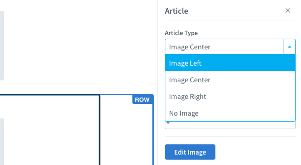 Click the Article block and select an option from the Article Type drop-down to align your image