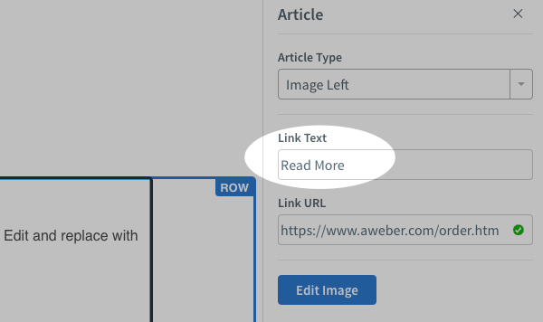 Edit the Read More text in the Link Text field