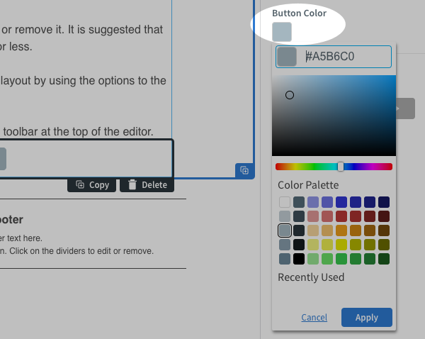 Change the button color using the Button Color palette