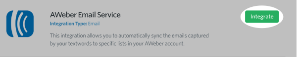 Click Integrate next to the AWeber app