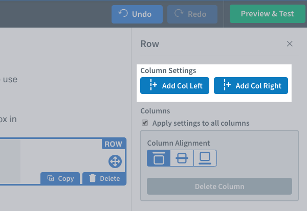 Column Settings section