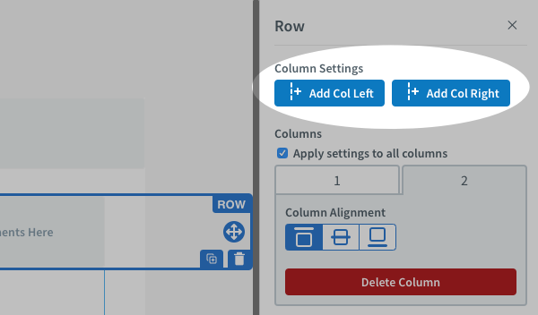 Click Add Col Left or Add Col Right to add up to six additional columns