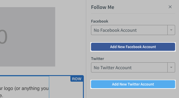 Click the buttons to add a new Facebook or Twitter account if you're not yet connected