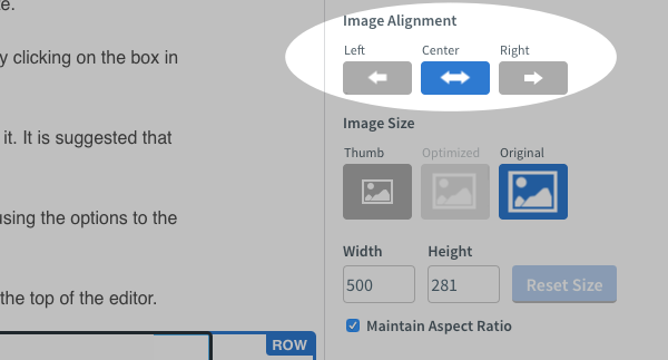 Adjust the alignment of the GIF using the Image Alignment options