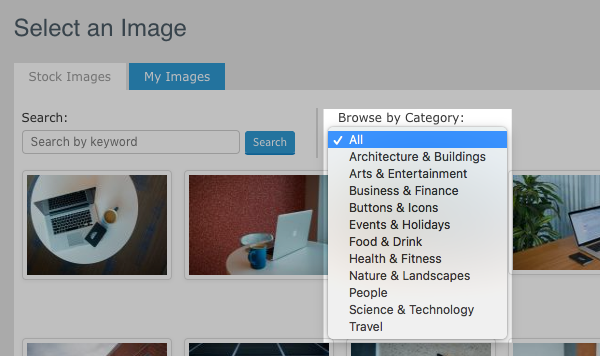Search for specific categories using the Browse by Category drop-down menu