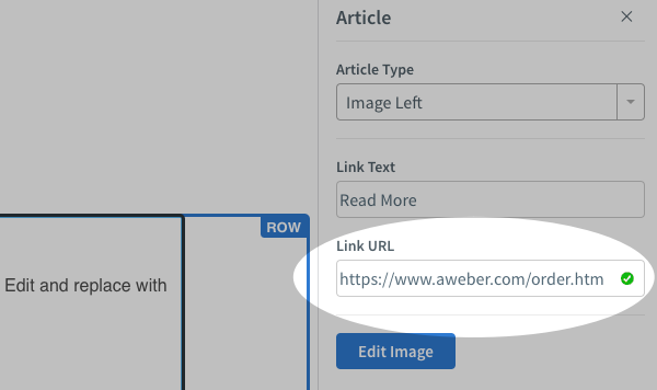 Add a hyperlink URL to the Link URL field