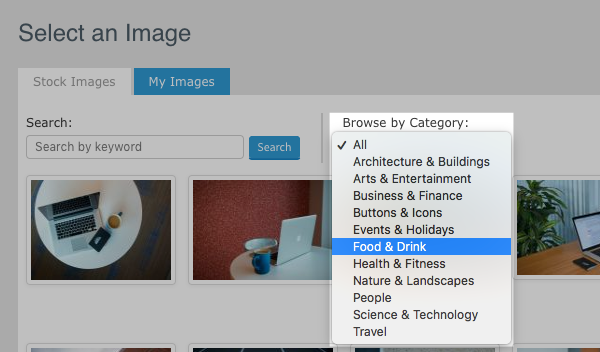 Use the drop-down menu to browse different image categories