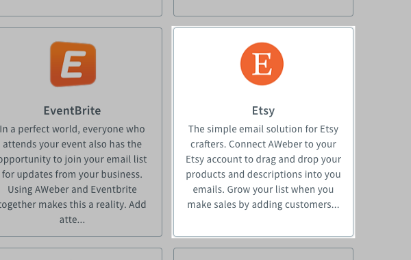 Click the Etsy app from the integrations showcase