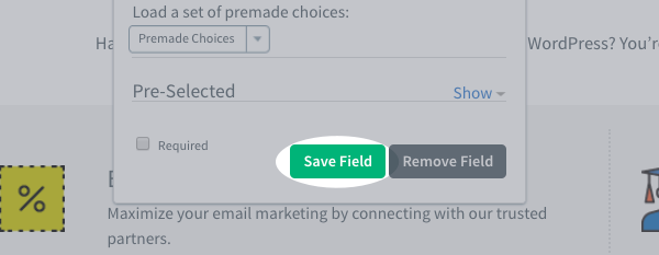 Save Field button