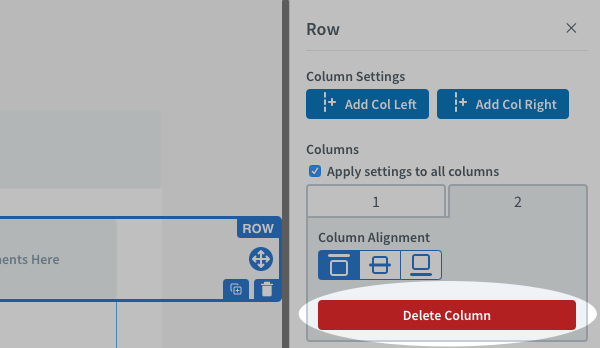 Click the red Delete Column button on the right hand side to remove the column