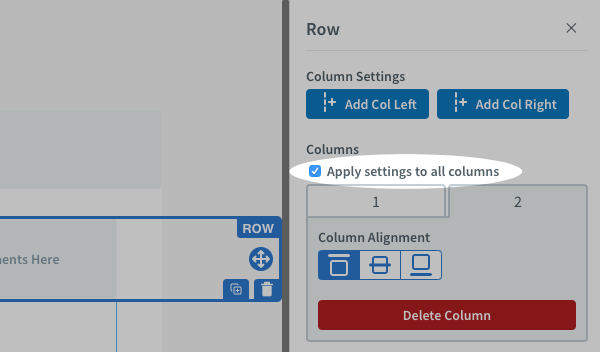 Check the Apply settings to all columns box to apply alignment to all columns at once