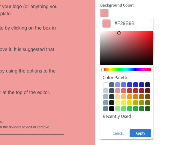 Selct the color you would like and then click Apply