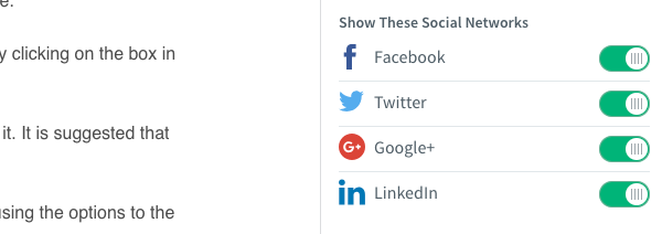 Select which social media services you would like to include by using the toggle