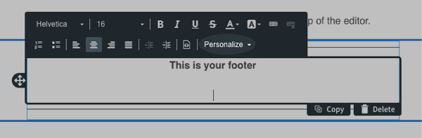 Click the Personalize button from the toolbar above the element you're working in
