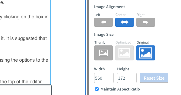 Edit the size of your image