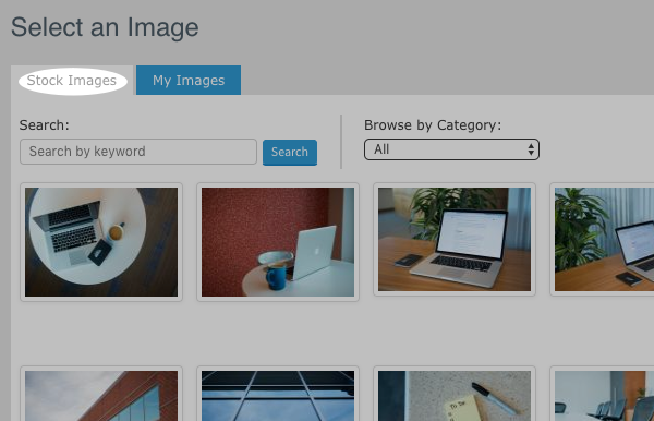 Click the Stock Images tab to browse the stock images