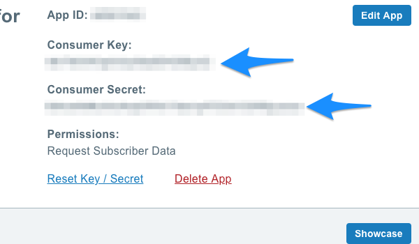consumer key and secret