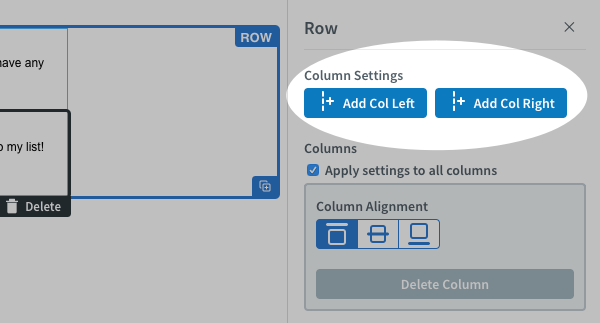 Click Add Col Right or Left to add new columns