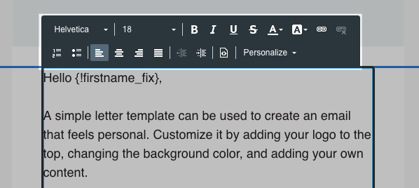 Toolbar to edit text