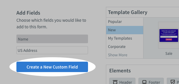 Click Create a New Custom Field