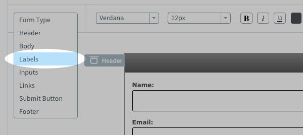 Select Labels from the Form Type drop-down