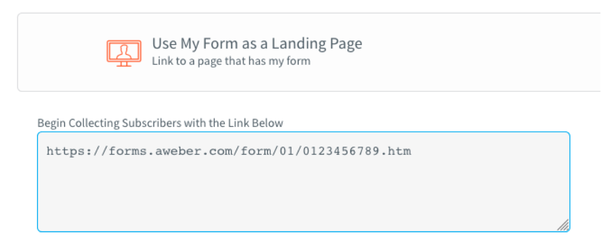 Copy the URL for your AWeber landing page