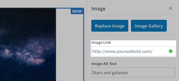 Add your URL to the Image Link field